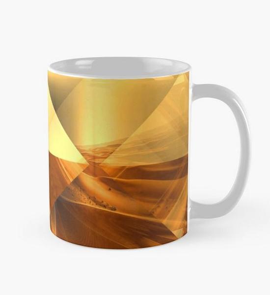 """Bild von einer Tasse mit dem Motiv vom Mandala """"der goldenen Pyramiden"""" als Aufdruck"""