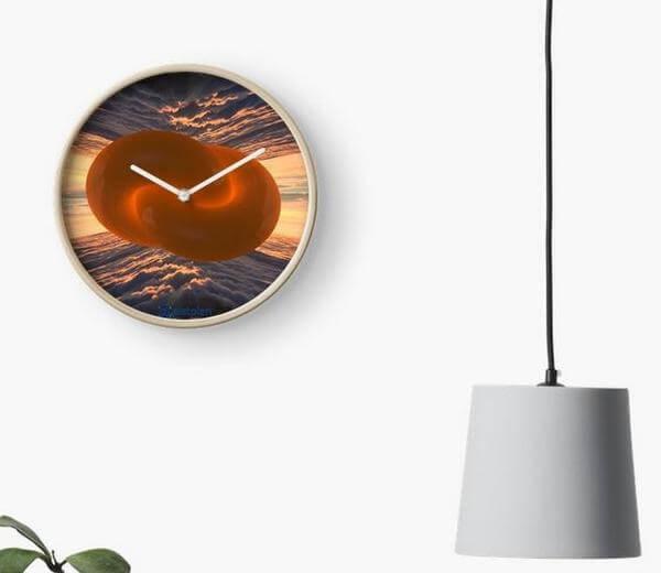 """Bild von einer Uhr bedruckten Ziffernblatt mit dem Motiv der """"unendlichen Einheit"""""""
