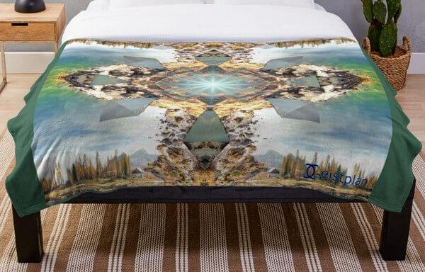 Bild von einer Decke mit dem Mandala des Aufbruchs als Aufdruck