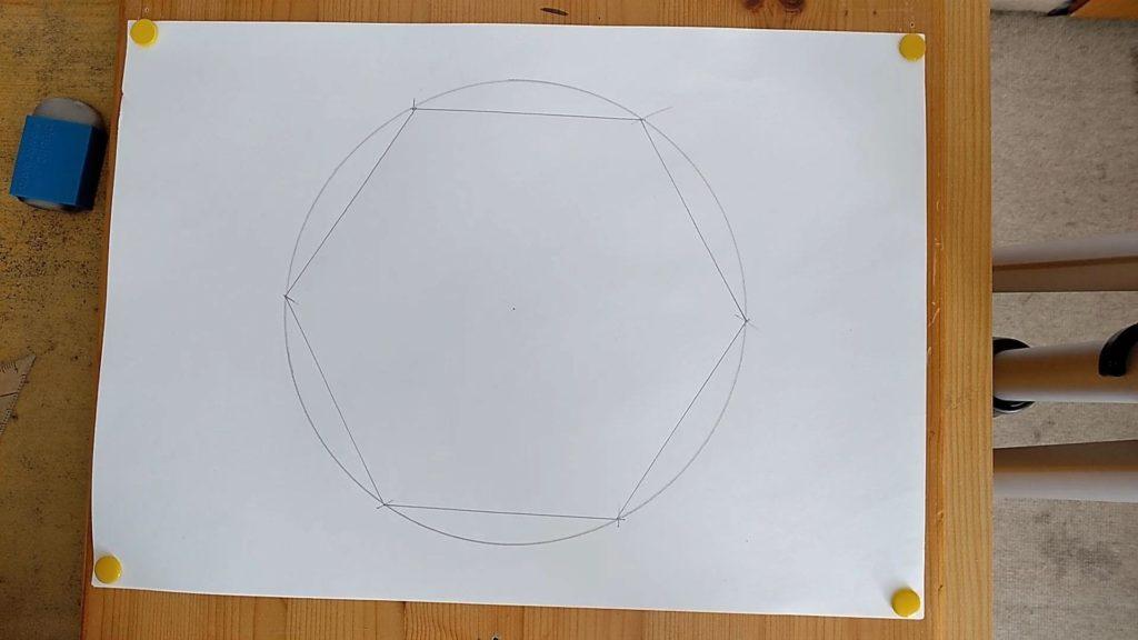 Bild von einem konstruierten Sechseck mit Hilflinien (Kreis) Fertiges Sechseck, Anleitung: ein Sechseck zeichnen