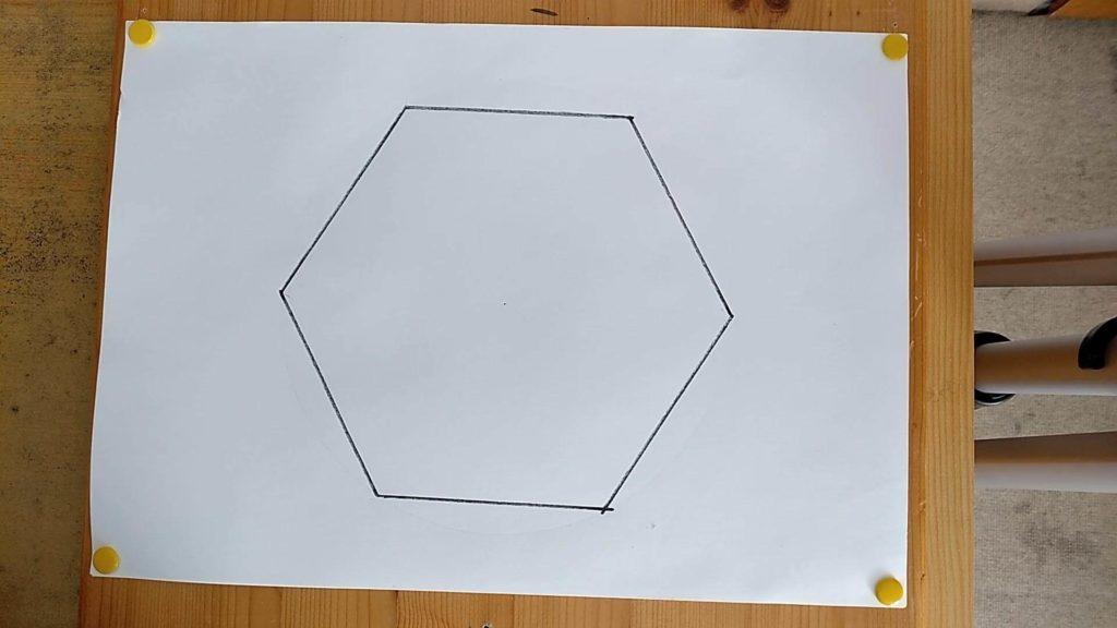 Bild von einem selbst gezeichneten Sechseck, Anleitung: ein Sechseck zeichnen