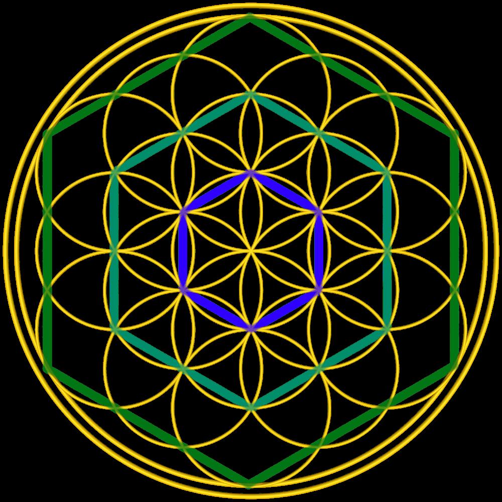 Bild von der Blume des Lebens mit Sechsecken, Anleitung: ein Sechseck zeichnen