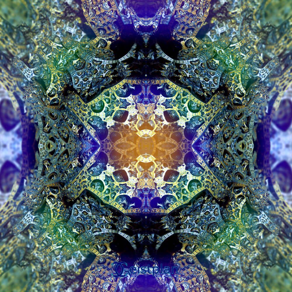 Bild mit komplexem bunten Muster, homogene Struktur, blau, gelb, grünlich wirkt 3 Dimensional
