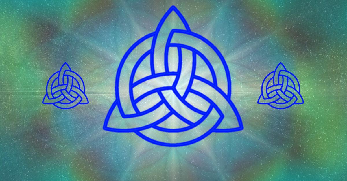 Der keltische Knoten, oder auch Dreifaltigkeitsknoten, ineinander verwobene Stränge Anleitung: einen keltischen Knoten zeichnen, Tutorial keltischer Dreieicksknoten, Knotenblume, Knotenmuster