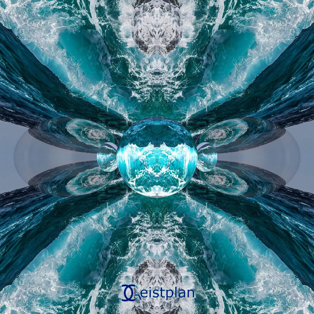 Bild mit dem Meer und Spiegelkugeln - gezerrt als Mandala. Wirkt beruhigend.