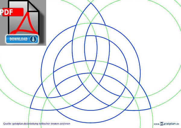 Bild PDF Download keltischer Knoten Hilfslinienzum ausdrucken Anleitung: einen keltischen Knoten zeichnen,, Zirkelknoten, Dreifaltigkeitsknoten, Tutorial keltischer Dreieicksknoten, Knotenmuster, Zirkelmuster