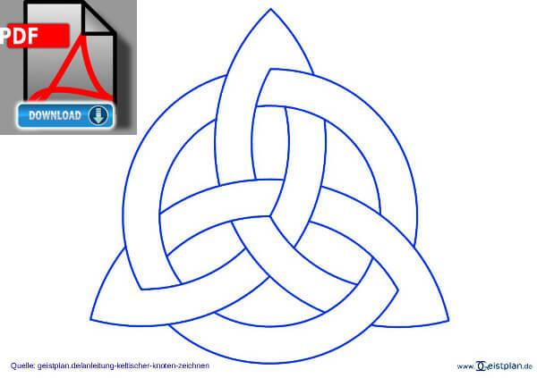Bild PDF Download keltischer Knoten fertig zum ausdrucken Anleitung: einen keltischen Knoten zeichnen, Knotenmuster