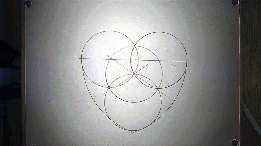 Bild von einer Vorzeichnung eines Herzens. Anleitung: ein Herz zeichne