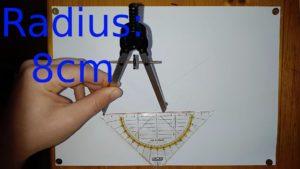 Zirkel wird mit dem Geodreieck auf 8cm eingestellt