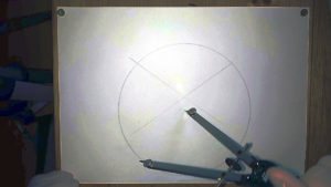 Bild 8cm Radius Kreis mit dem Zirkel um einen keltischen Knoten zu zeichnen auf DIN A4 Seite