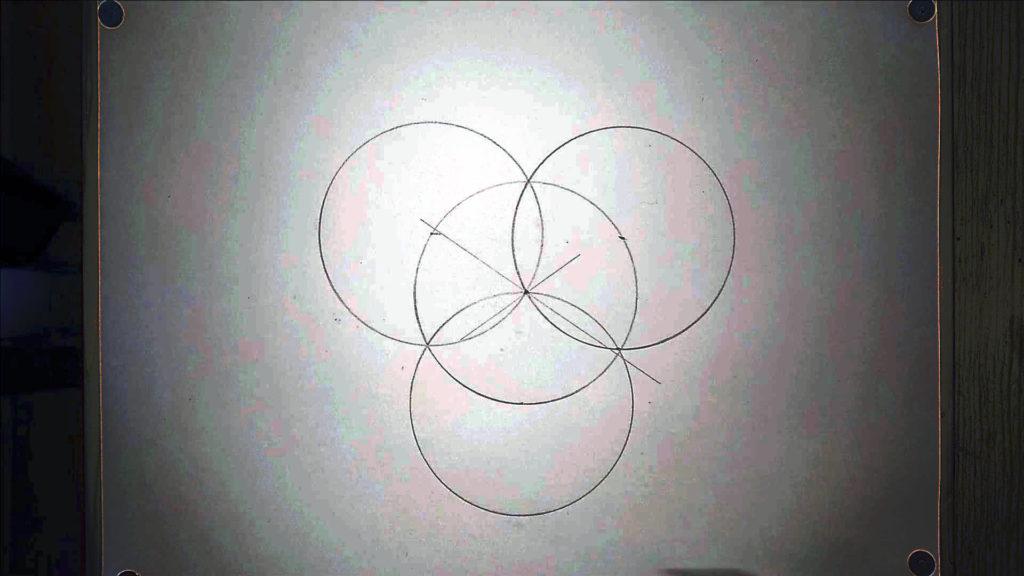 Bild von vier symmetrisch angeordneten Kreisen Anleitung: ein Herz zeichne