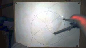 In Markierung einstechen und Kreis ziehen