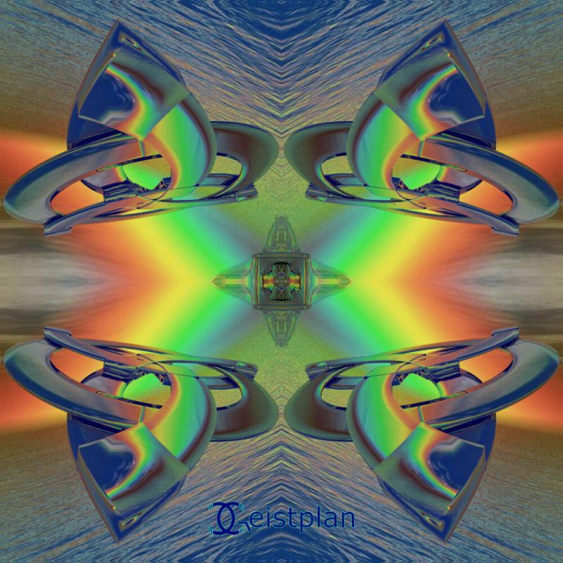 Bild von vier verspiegleten Dreifaltigkeitsknoten in Regenbogenfarben über dem Meer