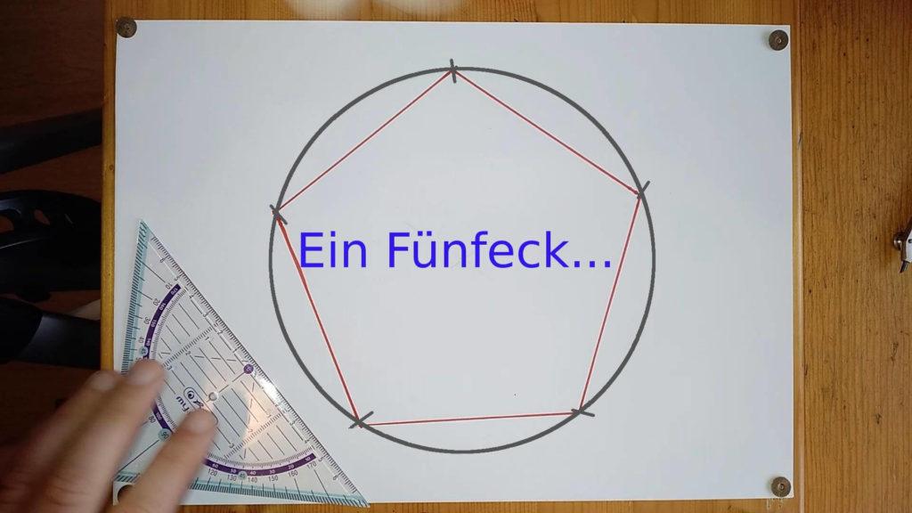 Markierungen auf Kreis außen verbunden - es enteht ein Fünfeck Anleitung - ein Pentagramm oder Fünfeck zeichnen
