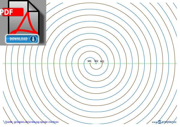 Vorschaublid für PDF, fertige Spirale mit Hilfslinien