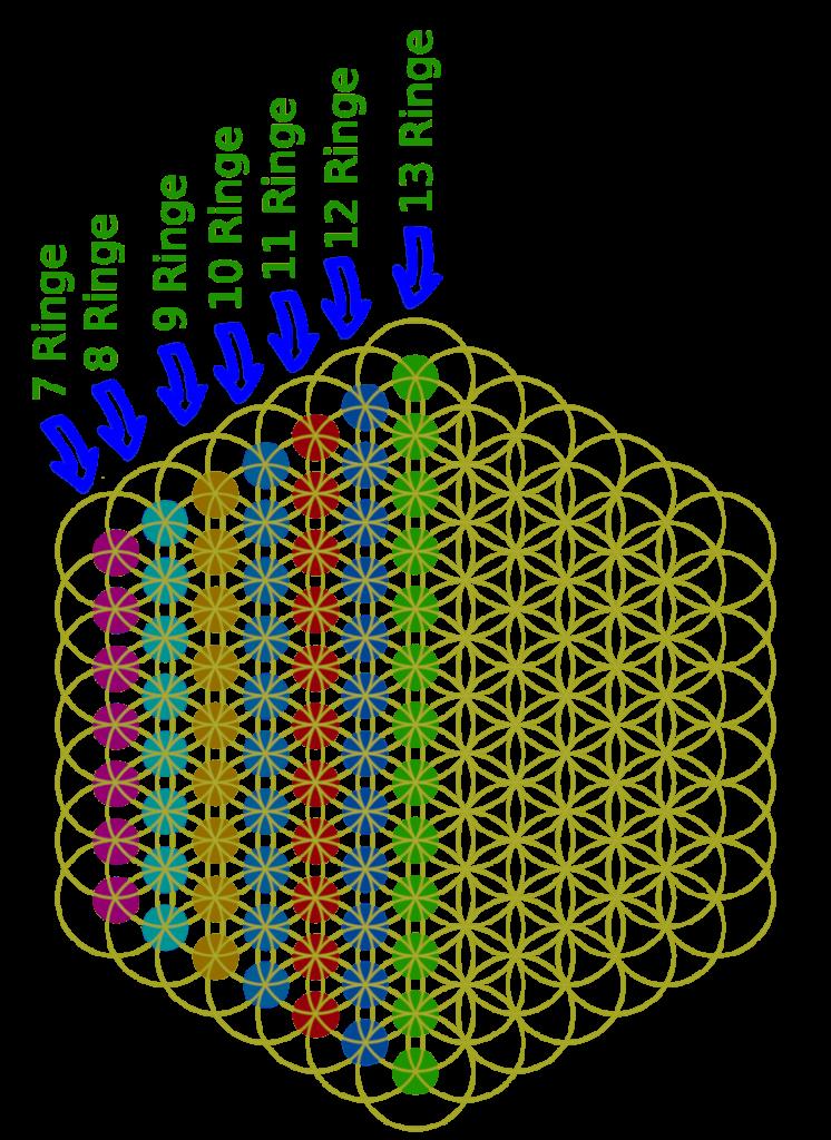 Bild der Blume des Lebens (7. Grad) Kreisringe der Blume des Lebens sind im Mittelpunkt markiert.