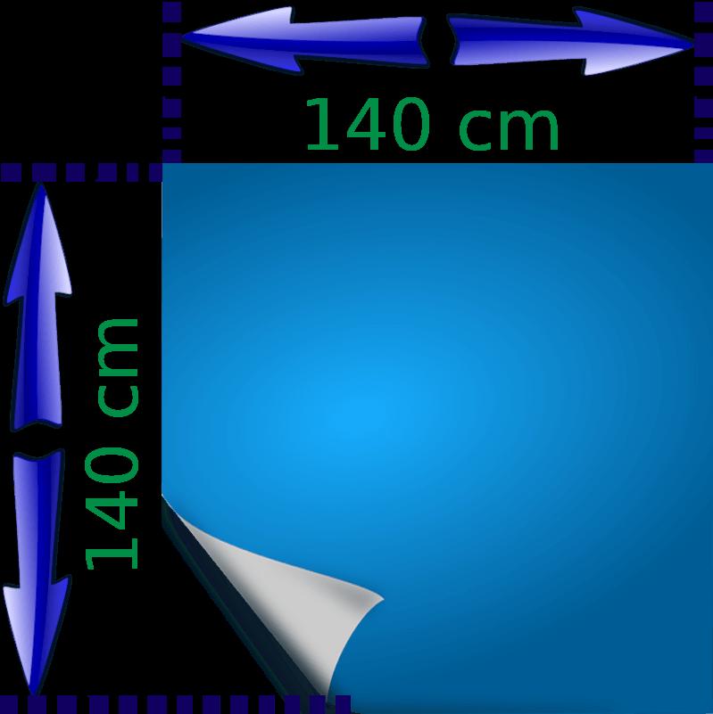 Bild von einer Folie, samt Abmessung: 140cm * 140cm