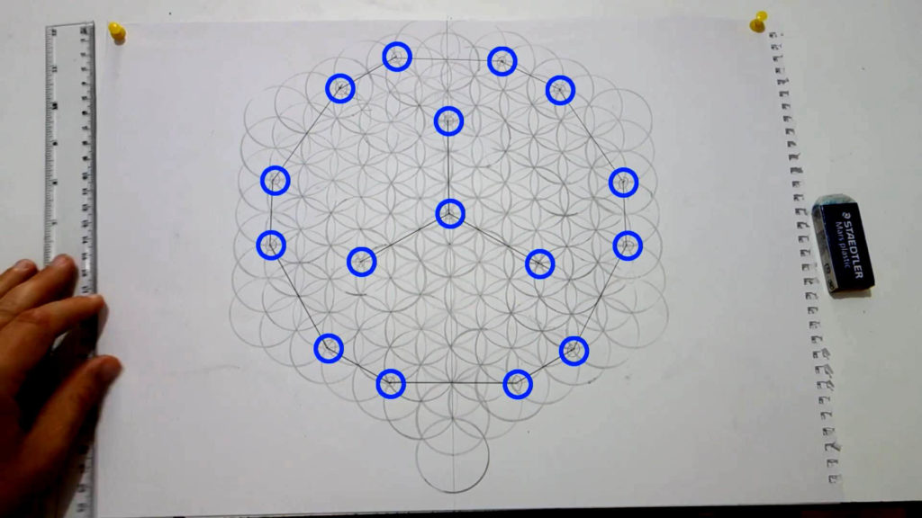 Bild von einer großen Blume des Lebens, auf der bestimmte Schnittpunkte als Markierung eingezeichnet wurden. Diese werden nun verbunden. Anleitung: einen Dodekaeder zeichnen