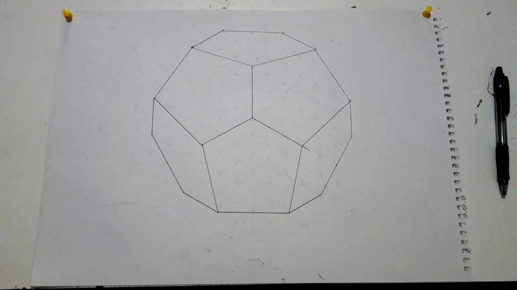 Bild von einem gezeichneten Dodekaeder. Anleitung einen Dodekaeder zeichnen