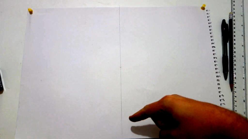 Bild von einem DIN A3 Papier mit Kreuz in der Mitte und eine Mittellinie