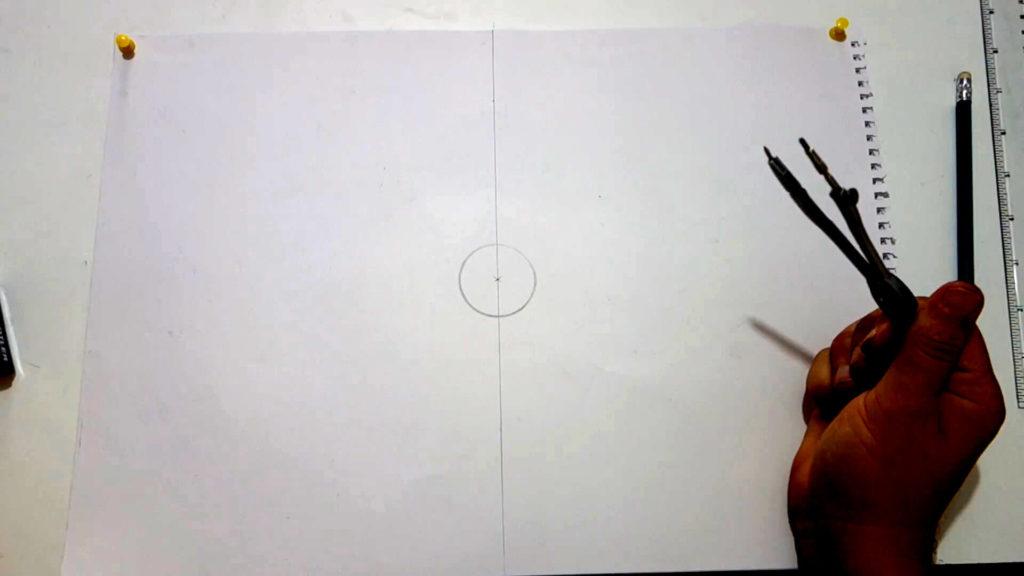 Bild von Kreis in der Mitte des Papiers.
