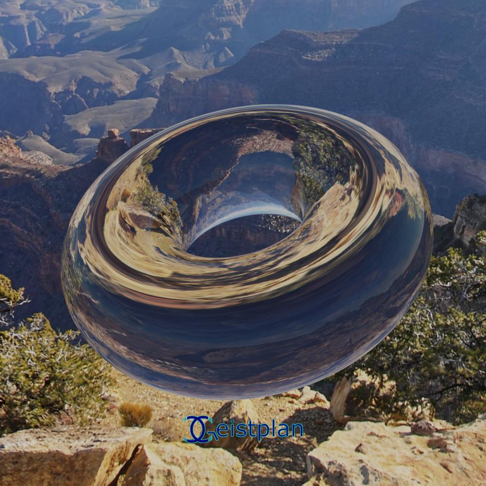 Bild von einem schwebenden Torus, der die Natur in sich spiegelt